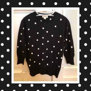 Cute Talbots black w/white polka dots cardigan.